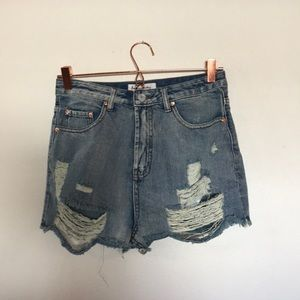 NWT SHOP IMPRESSIONS high waisted destroyed shorts
